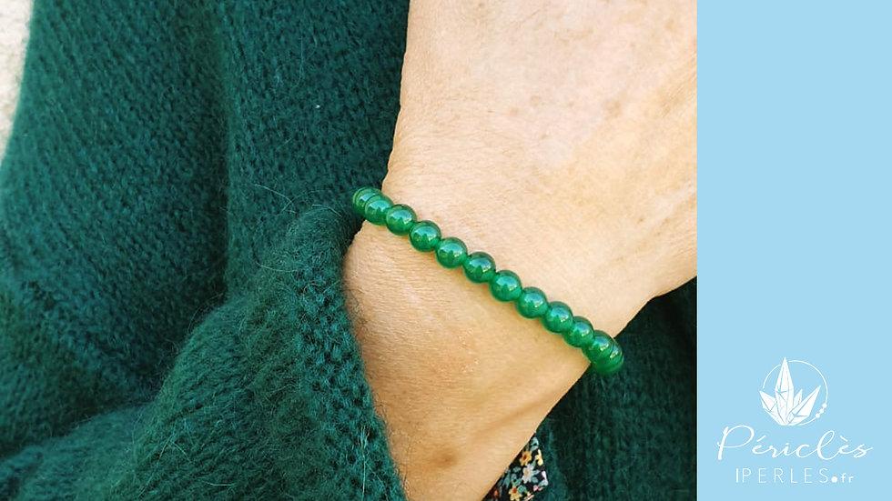 Bracelet Agate Verte • 6 mm - perles rondes