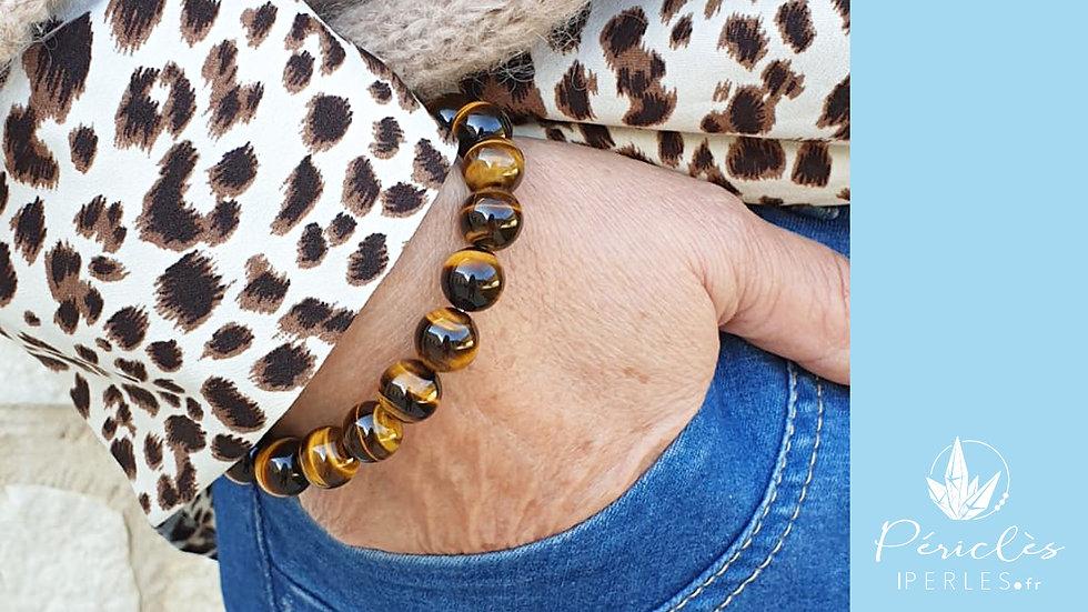 Bracelet Oeil de Tigre qualité AAA • 10 mm - perles rondes