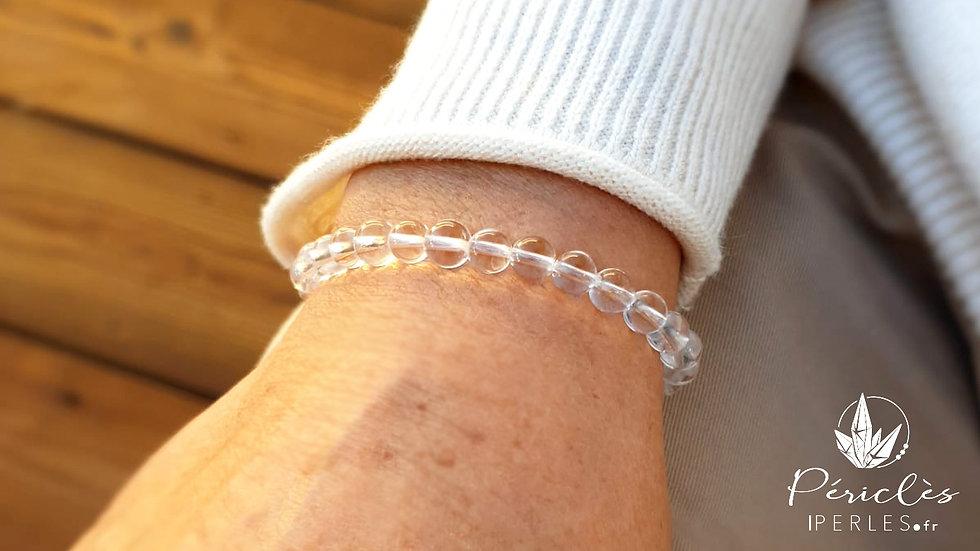 Bracelet Cristal de Roche qualité AA • 6 mm - Perles rondes