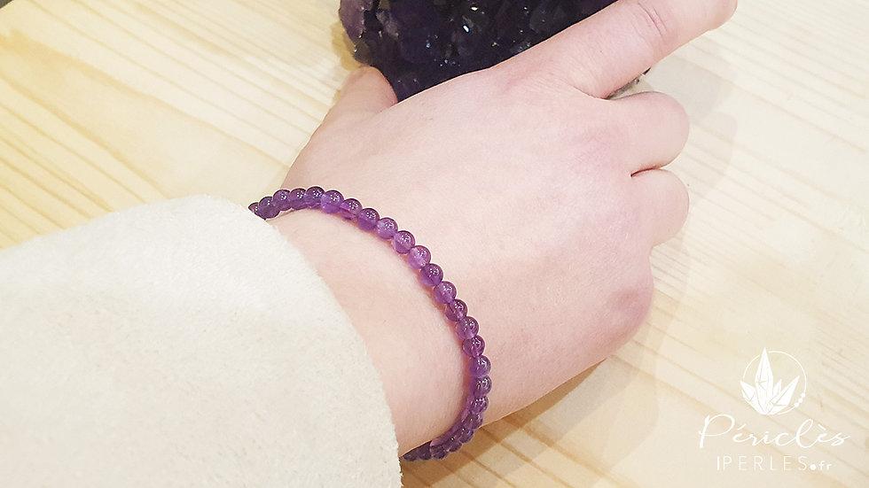 Bracelet Améthyste qualité AA • 4 mm - perles rondes