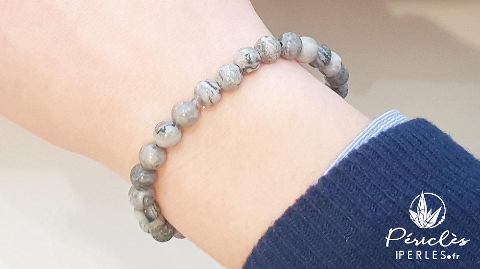 Bracelet Jaspe Feuille d'Argent • 6 mm - perles rondes