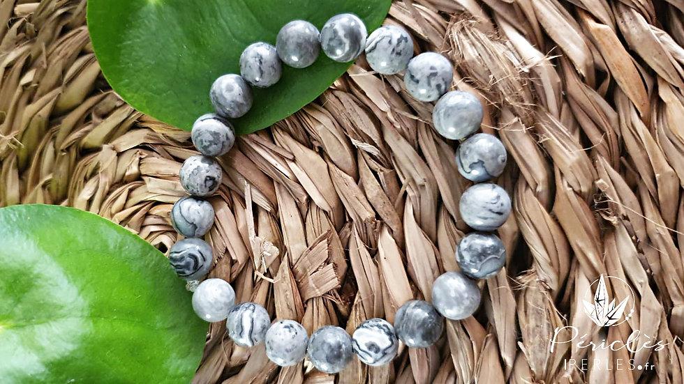 Bracelet Jaspe Feuille d'Argent • 8 mm - perles rondes