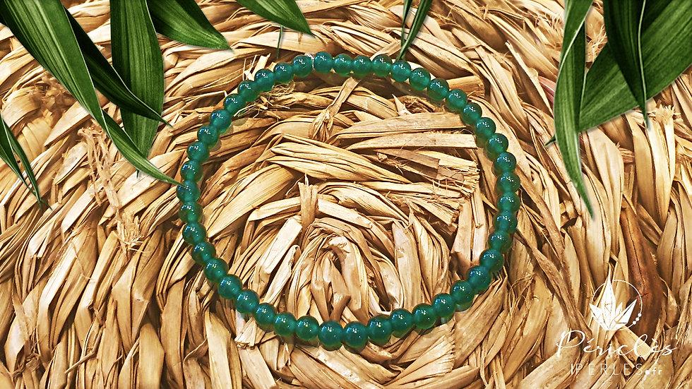 Bracelet Agate Verte • 4 mm - perles rondes