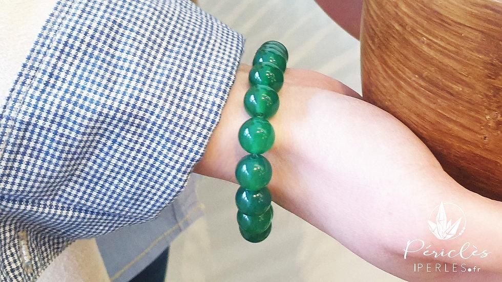 Bracelet Agate Verte • 10 mm - perles rondes