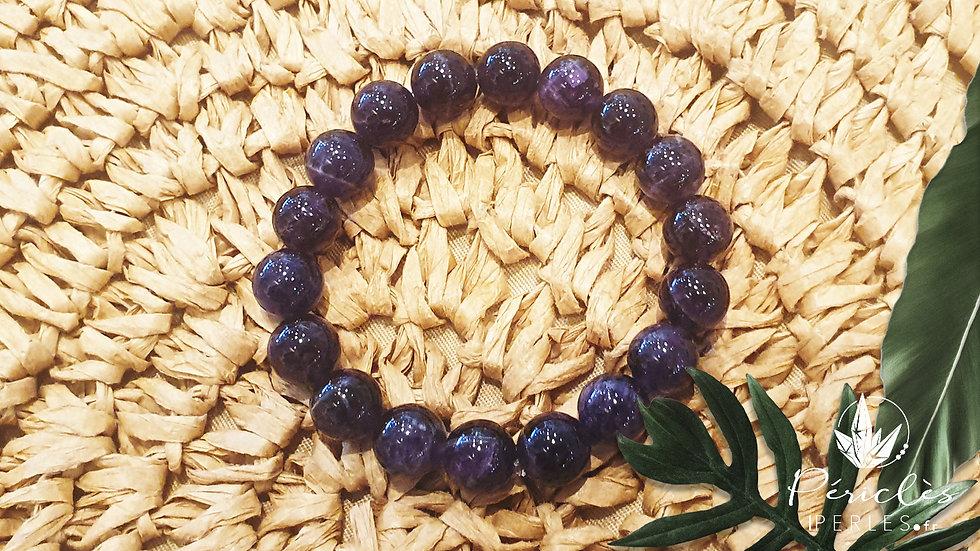 Bracelet Améthyste qualité A+ • 10 mm - perles rondes