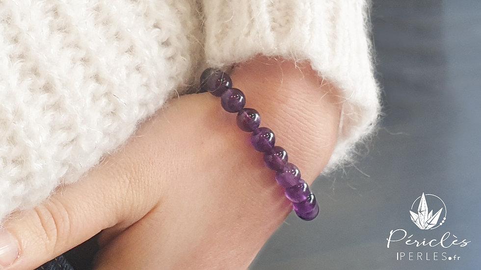 Bracelet Améthyste qualité A • 8 mm - perles rondes