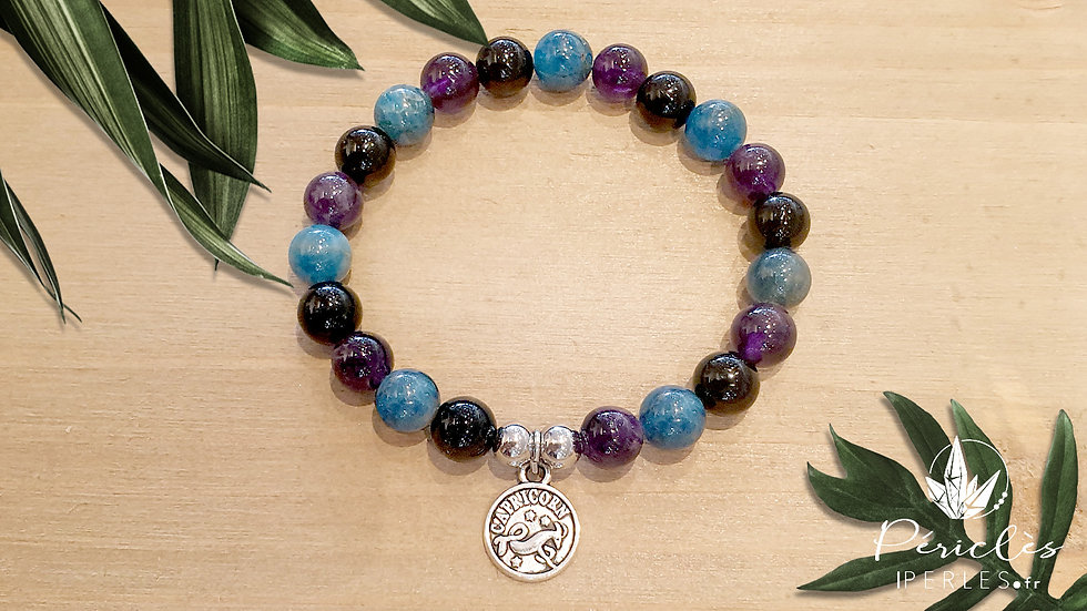 Bracelet Zodiaque CAPRICORNE • 8 mm - perles rondes