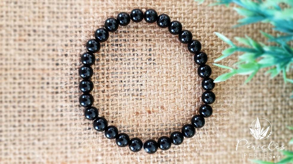 Bracelet Tourmaline Noire qualité AA • 6 mm - Perles rondes