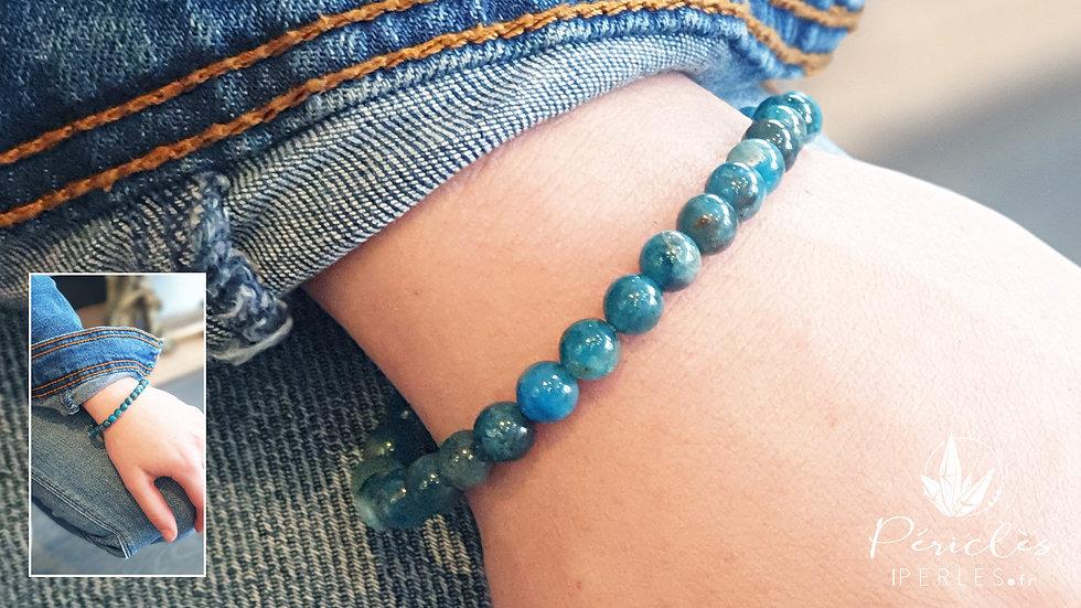 Bracelet Apatite Bleue qualité A+ • 6 mm - perles rondes