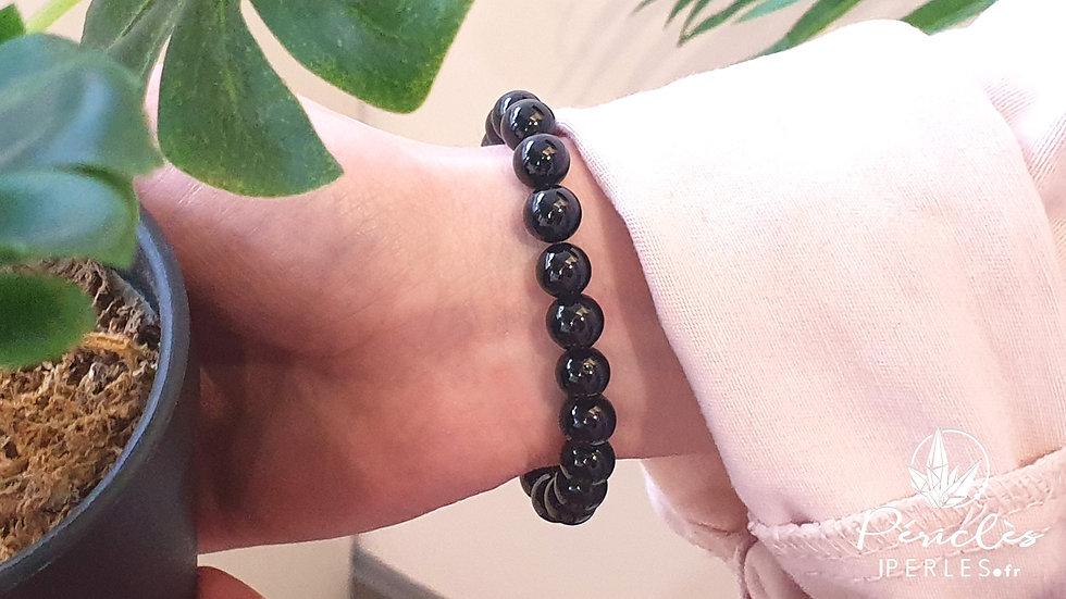 Bracelet Spinelle Noir • 8 mm - perles rondes