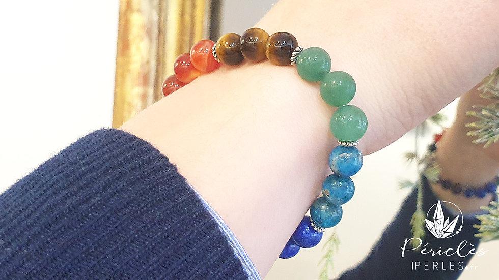 Bracelet 7 chakras • 8 mm - perles rondes