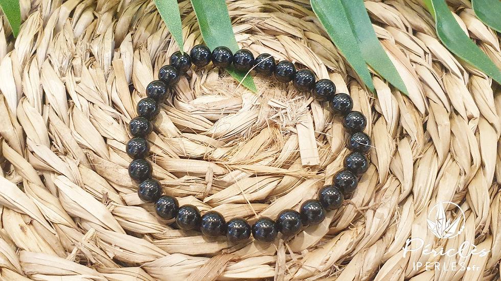 Bracelet Spinelle Noir • 6 mm - perles rondes