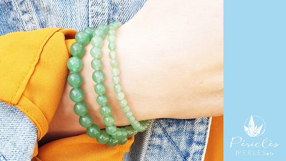 Bracelet Aventurine Verte • 6 mm - perles rondes