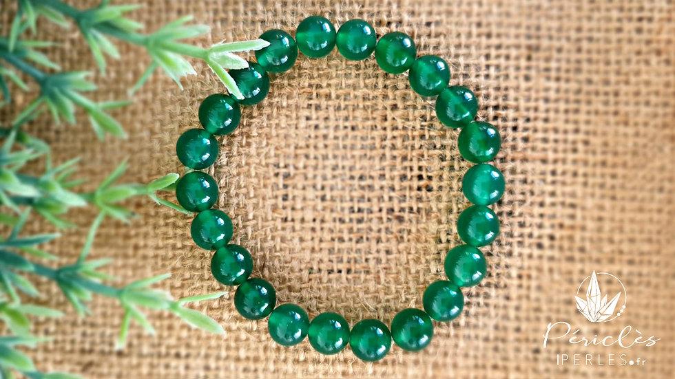 Bracelet Agate Verte • 8 mm - perles rondes