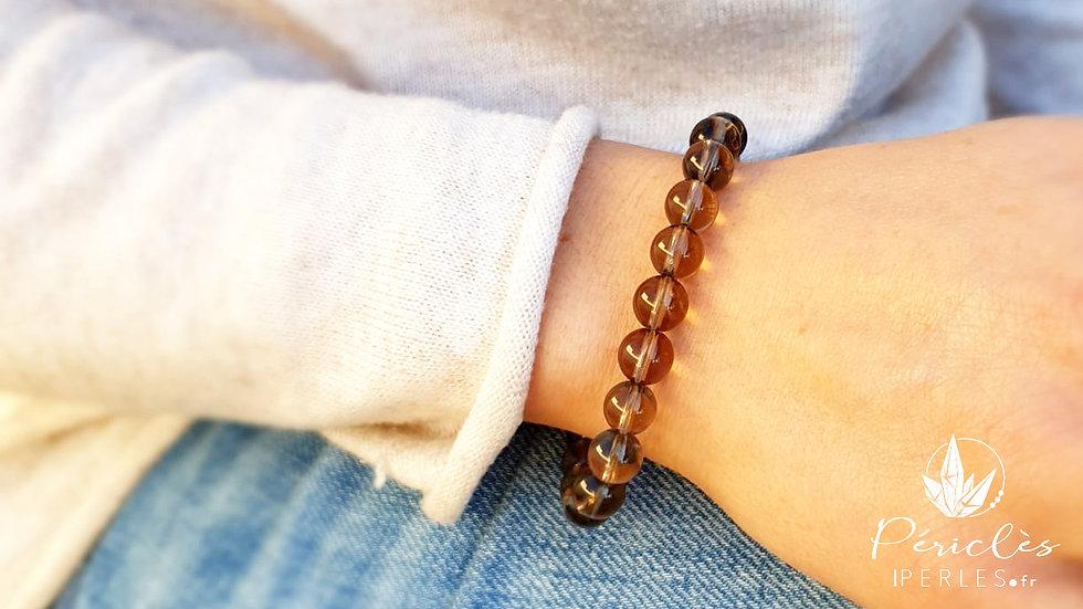 Bracelet Quartz Fumé qualité AA • 8 mm - perles rondes
