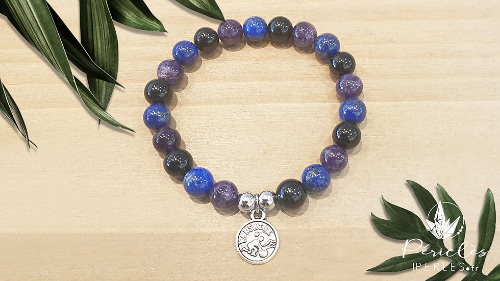 Bracelet Zodiaque VERSEAU • 8 mm - perles rondes