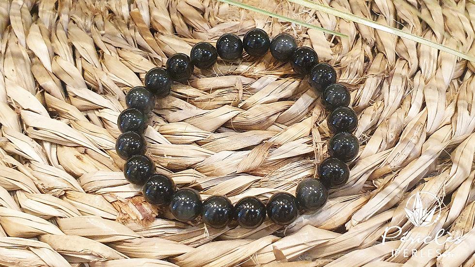 Bracelet Obsidienne Oeil Céleste qualité AAA • 8 mm - perles rondes