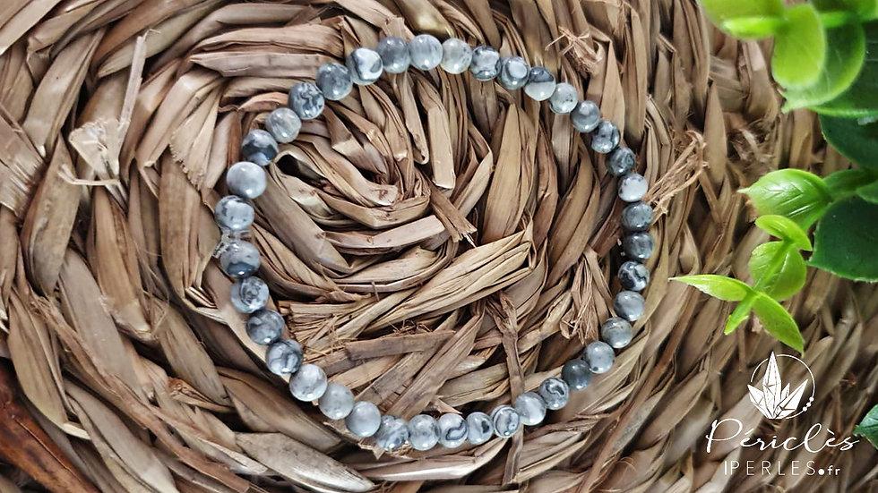 Bracelet Jaspe Feuille d'Argent • 4 mm - perles rondes