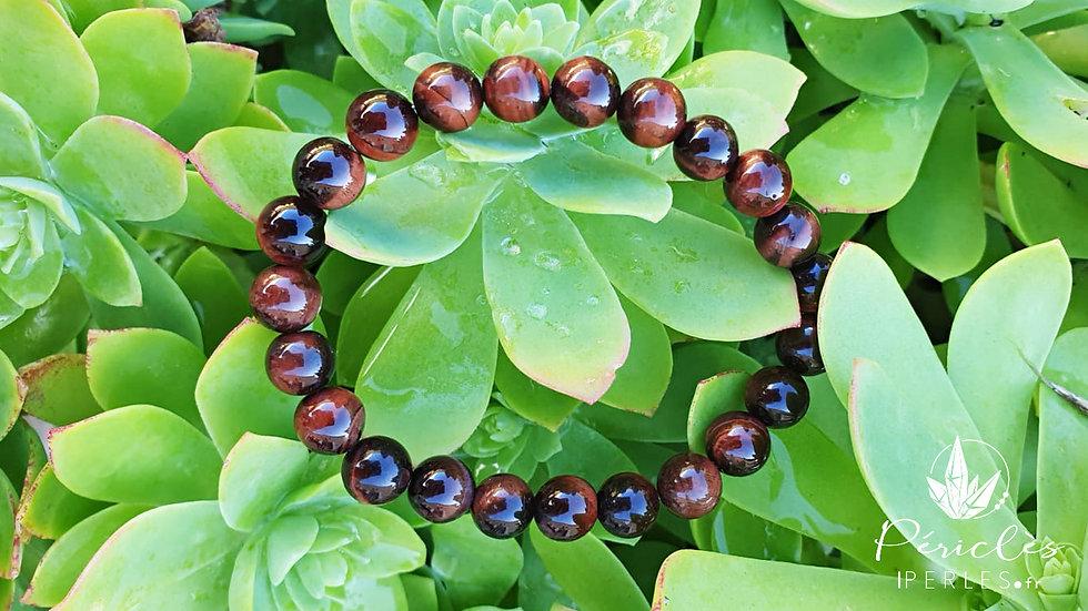 Bracelet Oeil de Taureau qualité A • 8 mm - perles rondes