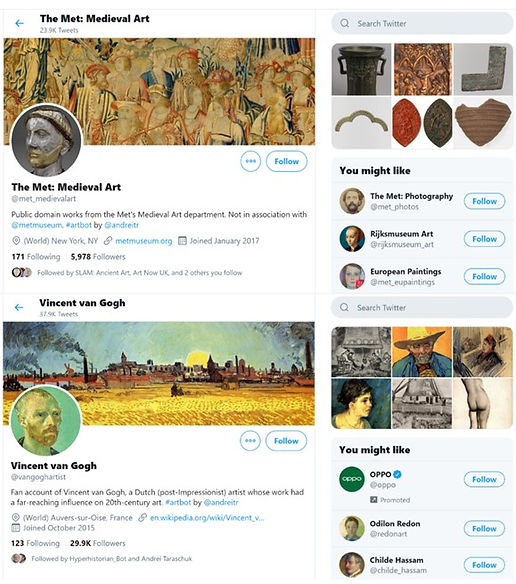 The social bot accounts on Twitter for Vincent Van Gogh (above) and Boris Kustodiev (below)