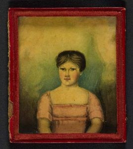 Figure 1, front cover of the diaries showing Marjory Fleming. National Library of Scotland, Diary of Marjory Fleming Volume I-III, 1810-1811, inv. nr. MSS. 1096-1110.