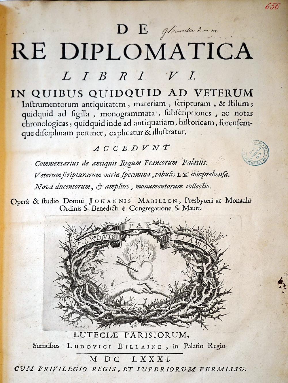 Title Page of Mabillon's De Re Diplomatica
