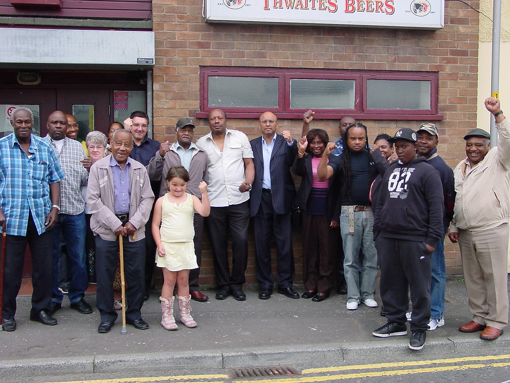 Preston MP Mark Hendrick (centre) with members of the Jalgos Sports and Social Club