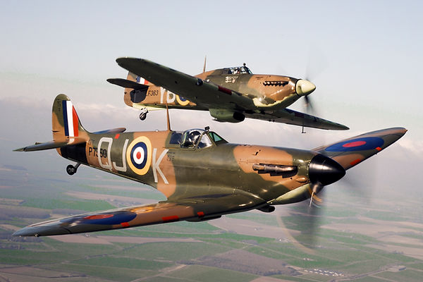 Spitfire P7350 (front) flies alongside Hurricane LF363 (back)