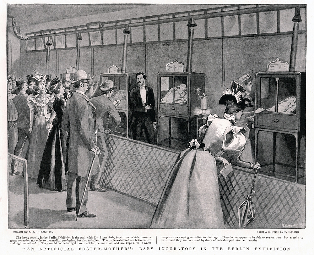 An engraving from the London Illustrated News showing the 'Child Hatchery' incubator exhibit at the 1896 Berlin Industrial Exposition