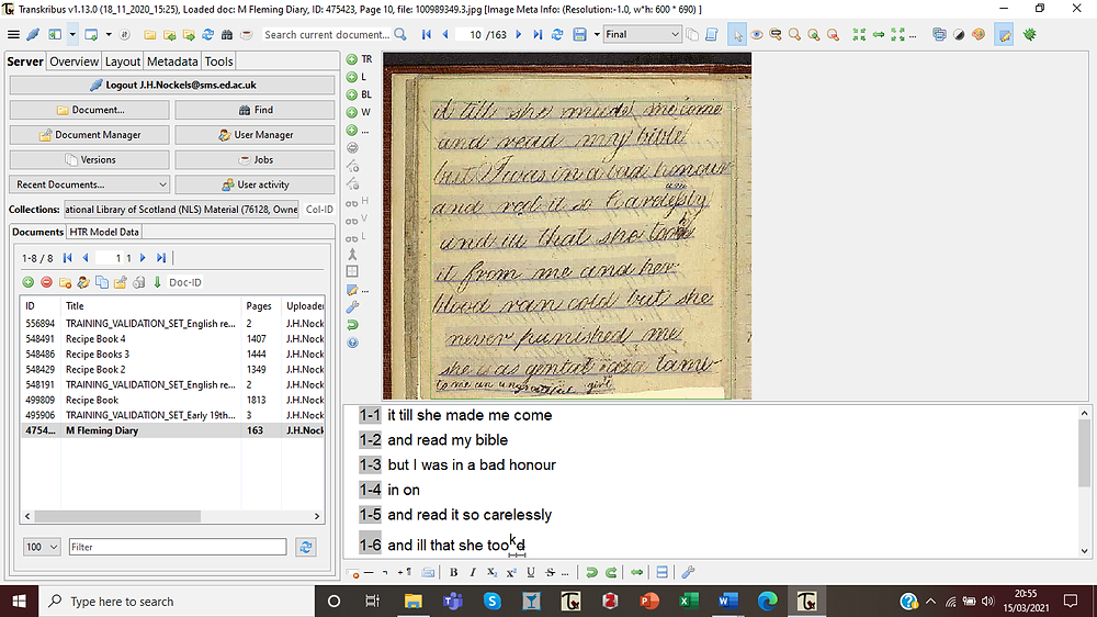 Figure 3, page 10 of the Fleming diary uploaded to Transkribus and segmented: shown by the purple lines appearing in the image. The bottom panel is the text editor, where manual transcription can take place, with numbered lines corresponding to those in the document.