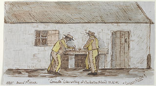 Vigors_Convicts Letter writing at Cockatoo Island NSW, Canary Birds_ 1849_Mitchell Library