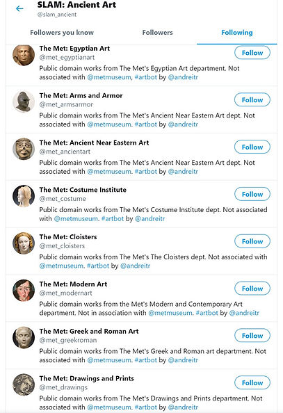 Abot and its friends – the Twitter bot accountfor the St Louis Art Museum's Ancient Art Department and the various Met Museum social bot that it follows