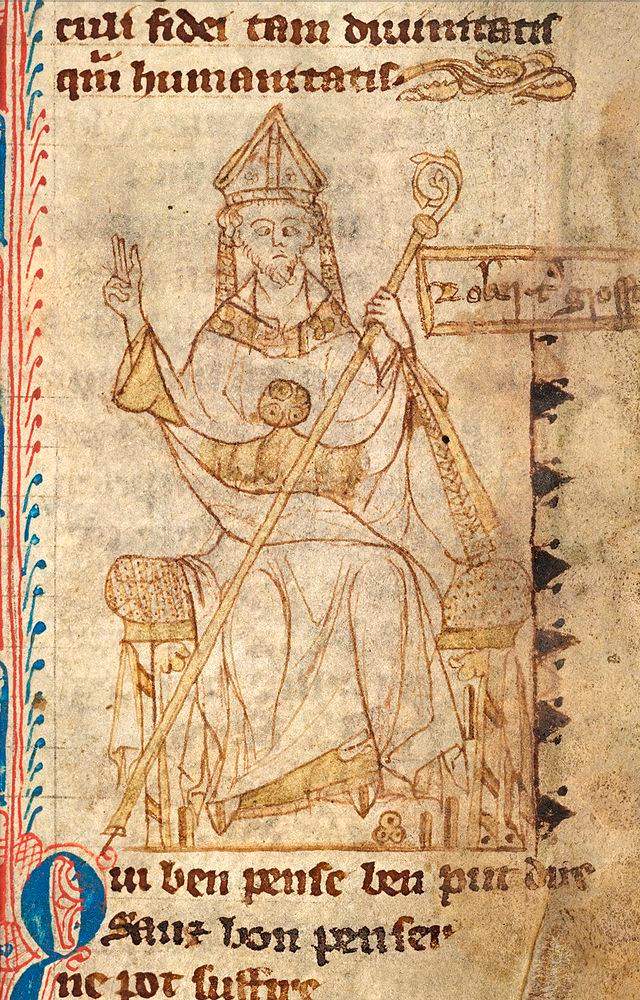 Portrait of Robert Grosseteste, Bishop of Lincoln, eyes crossed, seated with miter and crozier, his right hand raised in blessing. Unknown fourteenth-century scribe.