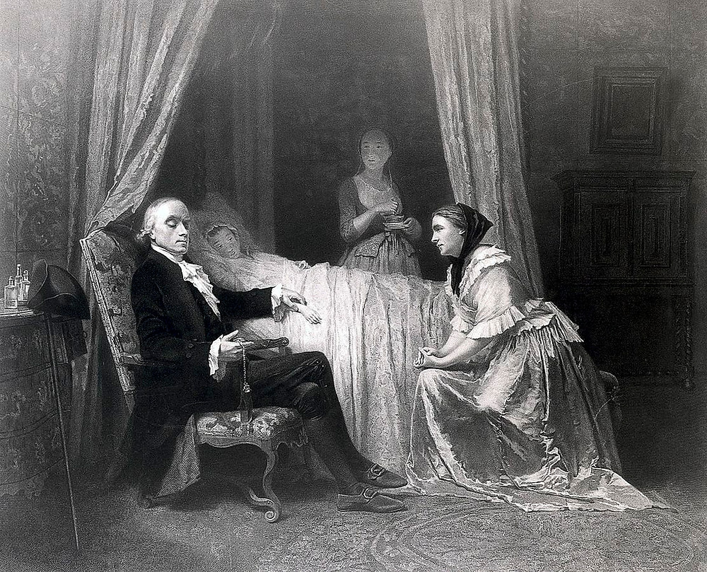 A physician taking the pulse of a young woman, her concerned mother is seated opposite him, with a servant in the background. Engraving by J.H. Barker.