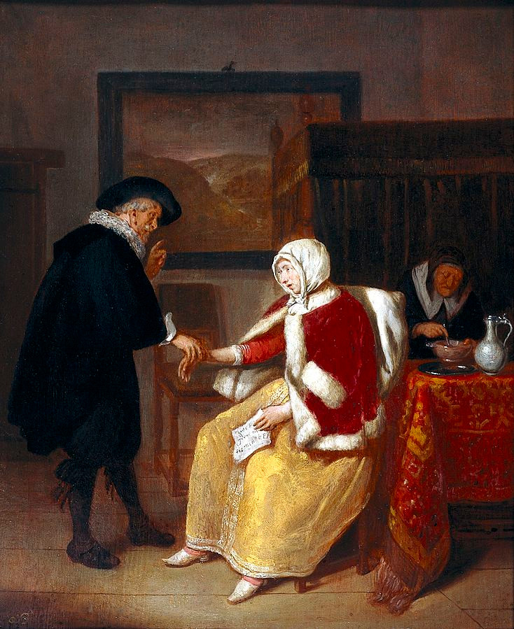 A physician taking the pulse of a young woman, while an old maid prepares gruel for her. Oil painting by Quirin Gerritsz. van Brekelenkam.