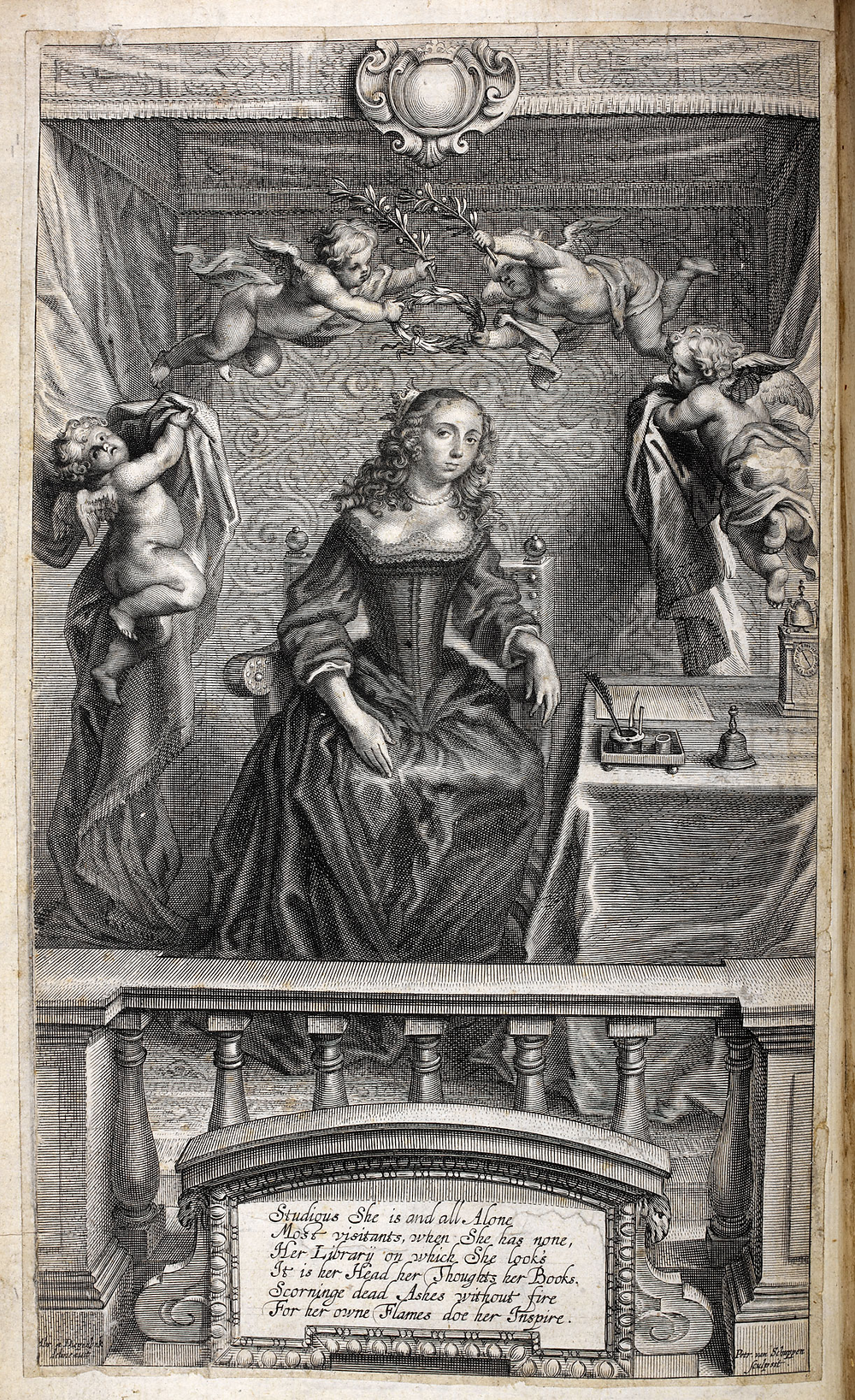 Nature's Pictures frontispiece (1656) – Cavendish with husband and step-children. Held in the British Library.