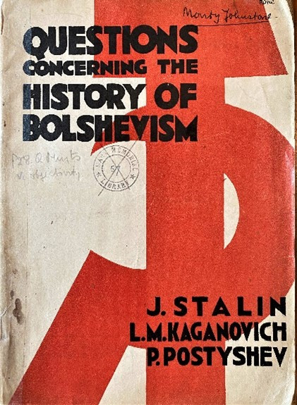 Figure 12: Questions Concerning the History of Bolshevism. Cover design by Cliff Rowe 1933.
