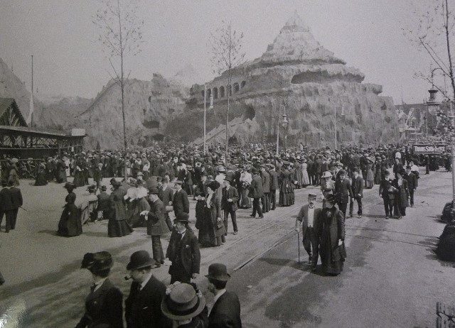 The mountain railway at the Exhibition. Note the two roller coaster tracks at different inclines amongst the rocks