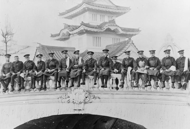 Soldiers from one of the Kitchener Regiments posing at the White City Exhibition Ground in 1914.