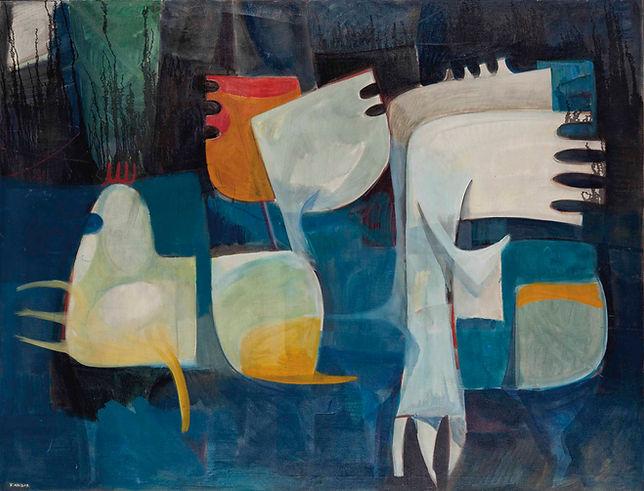 Kadhim Haider (Iraq, 1932-1985), 'Al Buraq'. Painted circa 1967. Oil on Canvas,130 x 170cm.Property of a private collector.