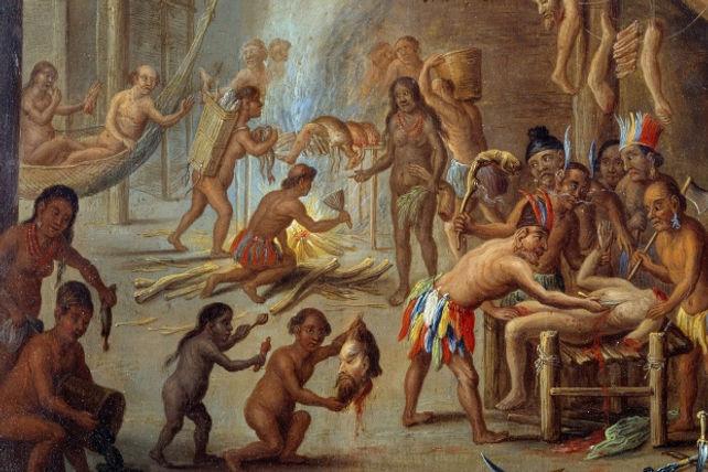 Jan van Kessel the Elder,Scene of cannibalism in Brazil, 18cm × 24cm,Musee de Nouveau-Monde, La Rochelle.