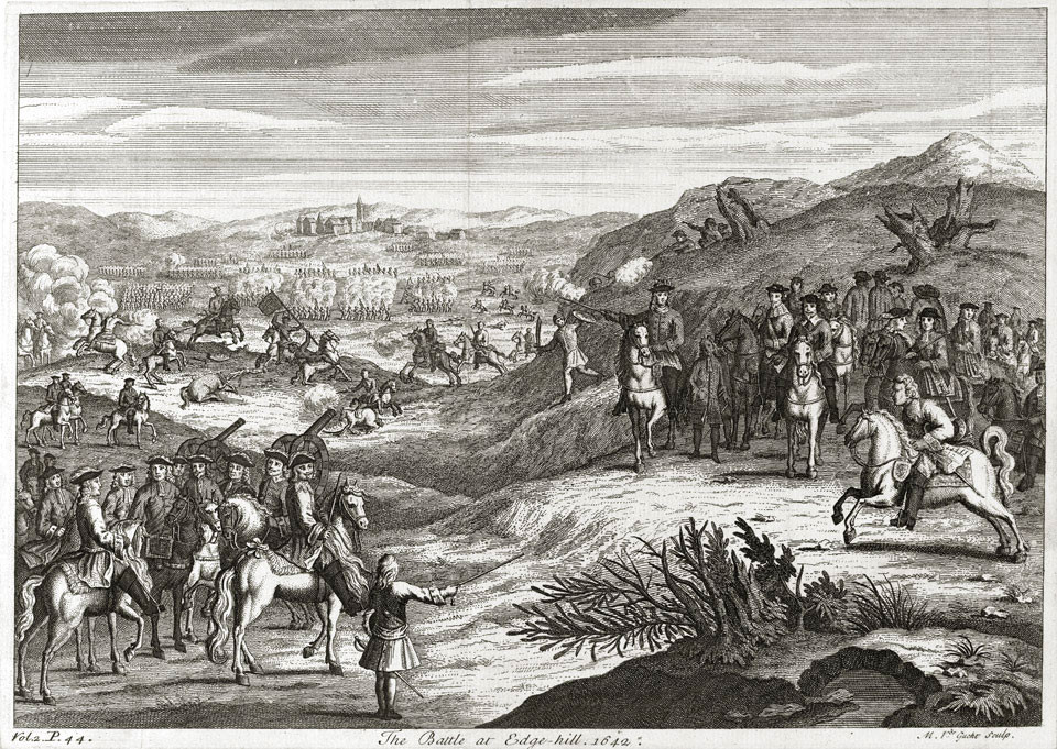 The Battle of Edgehill, 1642. Engraving by Michael van de Gucht, published 1710. Held in the National Army Museum.