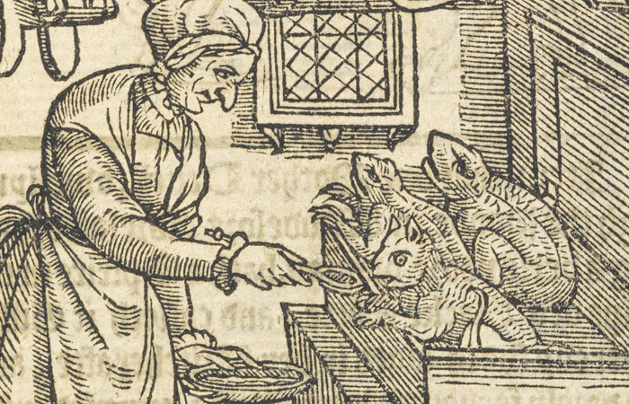 A witch spoon-feeds three familiars in this illustration from the anonymous pamphlet A Rehearsall Straung and True (London, 1579). British Library, London