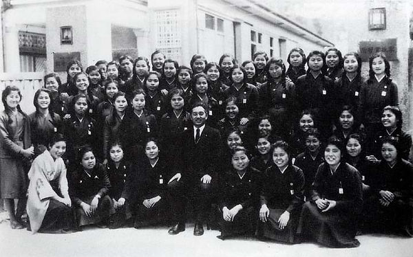 A class of schoolgirls who would later comprise the Lily Corps photographed prior to the Battle of Okinawa