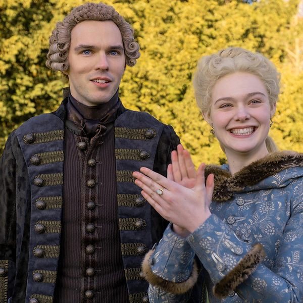 Nicholas Hoult as Peter III and Elle Fanning as Catherine the Great in Hulu's The Great. Avaliable on Hulu's streaming service.