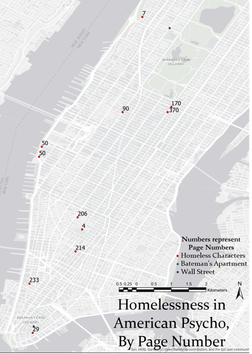 Map Figure E. Homelessness in American Psycho, by Page Number