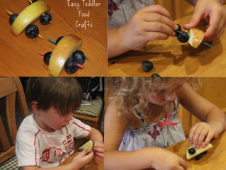Easy toddler food crafts: apple blueberry race cars