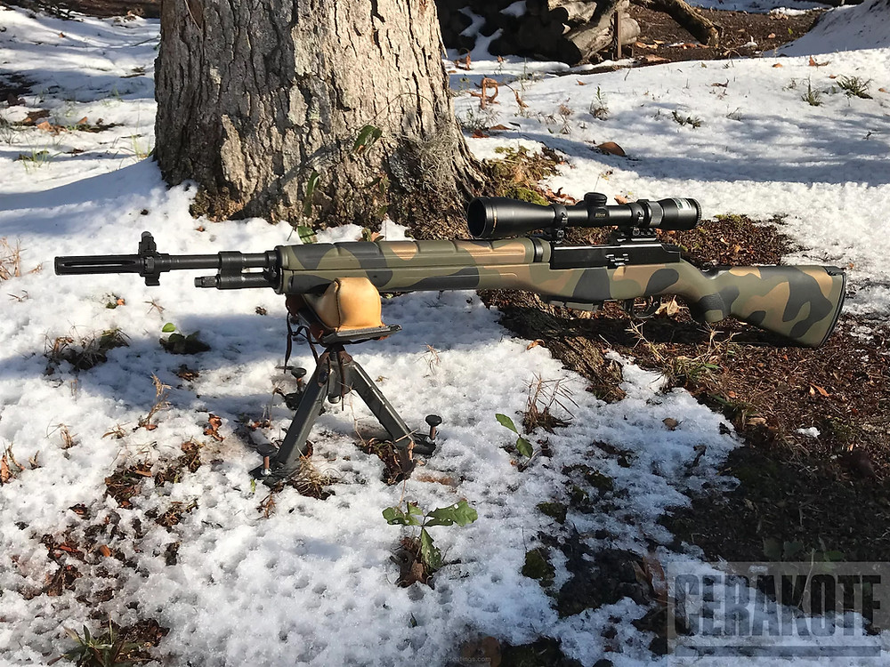 M14, cerakote, woodland camo