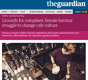 Feature on gender discrepancy in cafes female baristas struggle to change cafe culture on The Guardian by Sarah Gooding