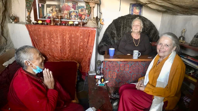 Ziji Rinpoche with Ani Bumchang and Lama Lena - Holy Caves, Tso Pema